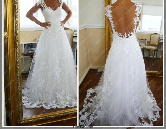 Aline Open Back lace Wedding Dress Cheap Lace Bridal by DressHome ...