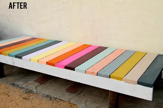 outdoor bench! I love! I could make this with stuff I have at home!