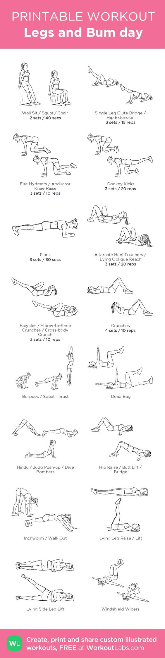 Legs and Bum day:my visual workout created at WorkoutLabs.com • Click through to customize and download as a FREE PDF! #customworkout