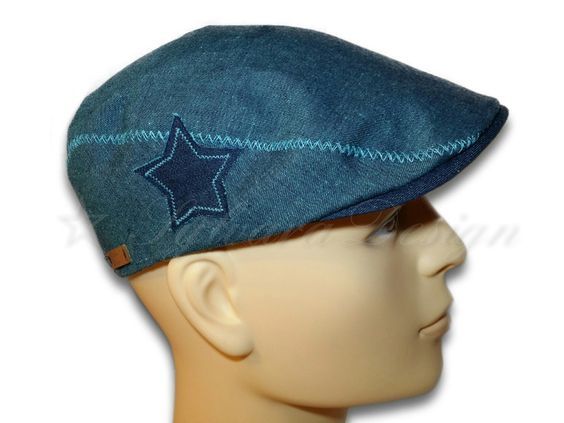 Schiebermütze Jeans türkis-blau mit Stern  von Sylvara Design auf DaWanda.com