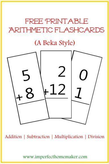 Free Printable Math flashcards - A Beka style                                                                                                                                                      More
