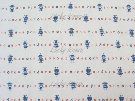 Robot March Fabric Navy Blue/Red on White
