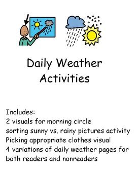 daily weather activities for students with special needs or early elementary great for students. Black Bedroom Furniture Sets. Home Design Ideas