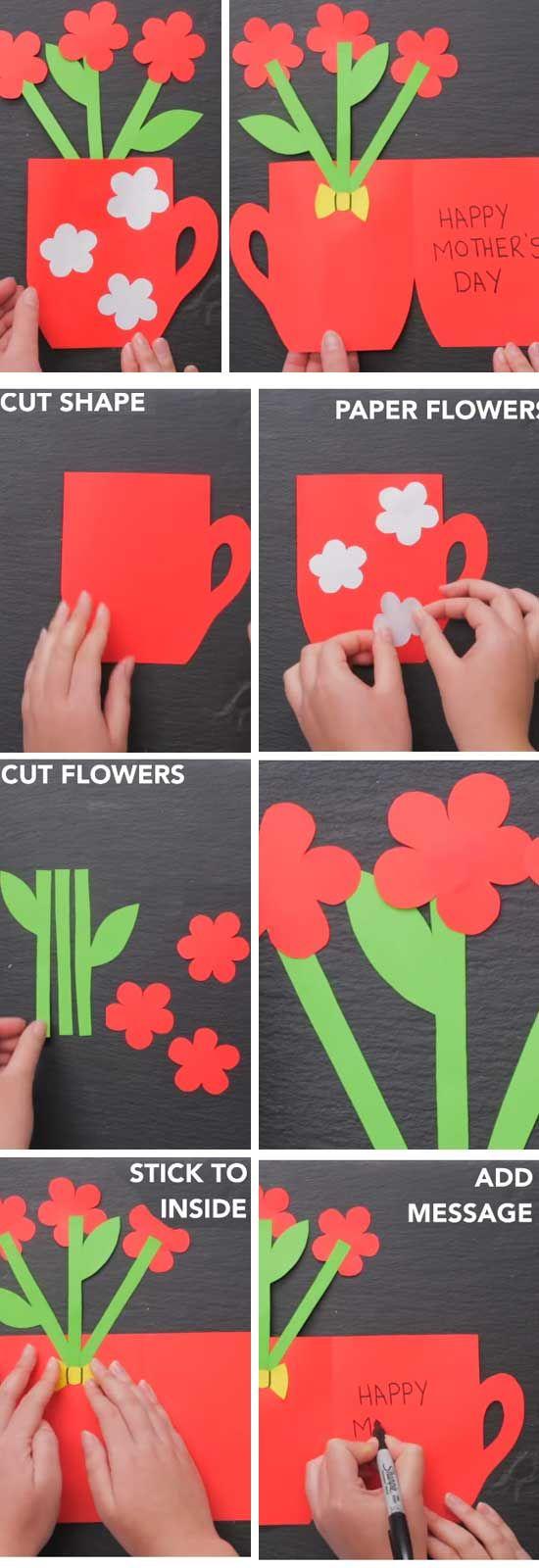 Flower Pot Card   Easy DIY Mothers Day Cards Kids   Easy diy ...