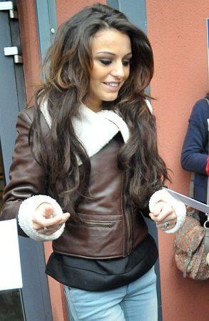 Cher Lloyd wearing Ruby Rocks leather flight jacket