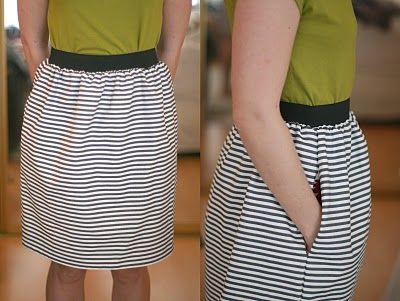 DIY: Stripey Elastic Skirt | Say Yes to Hoboken