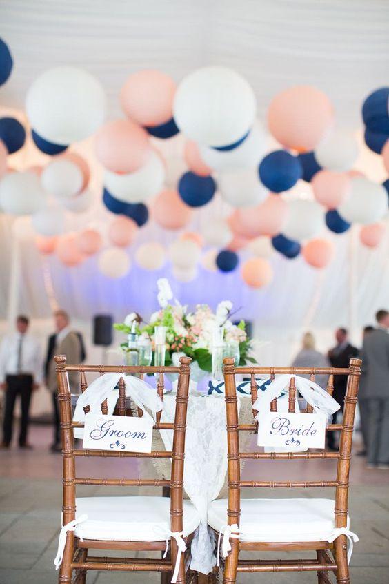 decoration de mariage avec ballons navy pink: