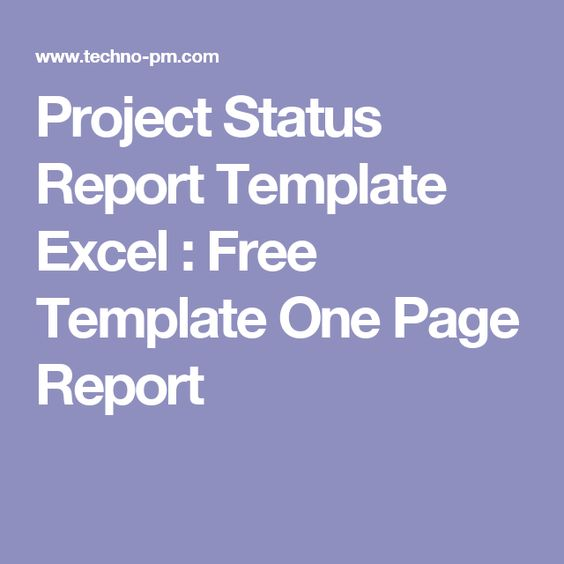 Project Status Report Template Excel  Free Template One Page - status report template