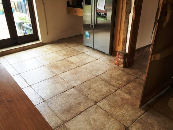 This property near the town of Horsham was a converted from a pig barn many years ago and had a lovely textured Limestone tiled floor installed on the ground floor kitchen and dinning room. The Limestone tile and adjacent grout were now looking rather grubby and we were asked if we would give them a deep clean and re-seal.