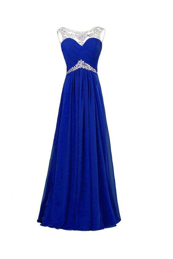 Royal Blue Chiffon Beaded Long Prom Evening Dresses