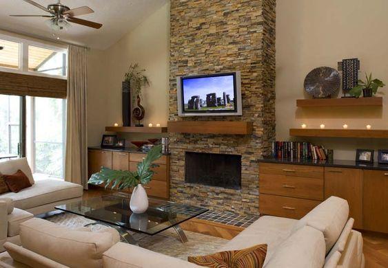 Sal n decorado con estilo t pico de rustic chic sal n for Chimeneas en apartamentos pequenos