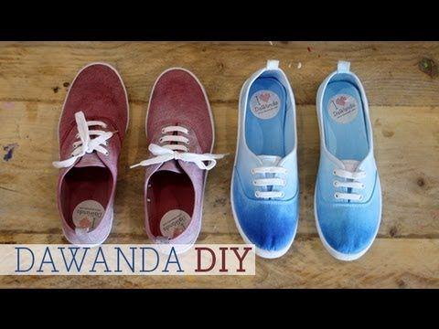 ▶ DaWanda DIY: Dip Dye Schuhe - YouTube Tolles Tutorial! Muss ich unbedingt nachmachen :))