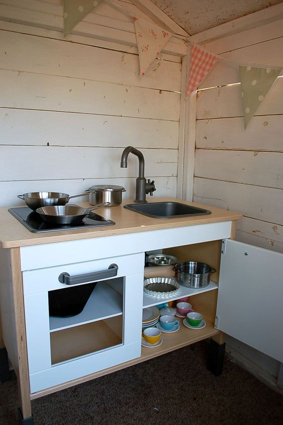 Wooden play kitchen from Ikea- we have this, kids love it!