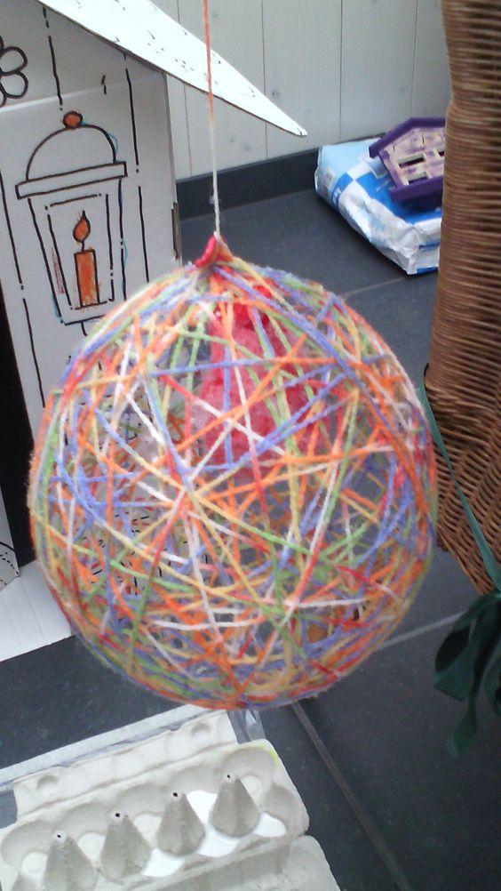 voor pasen gemaakt met ballon en garen