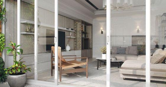salon avec terrasse et porte coulissante et déco moderne de style asiatique