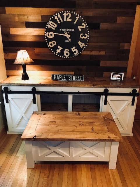 Barn Door Tv Stand W Matching Coffee Table Barn Door Tv Stand