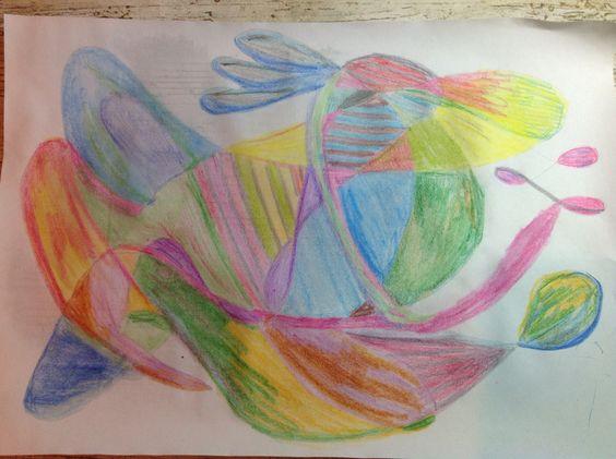 Intuitieve tekening. Zet je potlood op papier en maak 1 lijn zonder je potlood eraf te halen en eindig waar je begonnen bent. Dan lekker inkleuren!