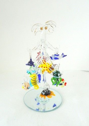 Hand Blown Glass Christmas Tree Ornaments : New hand blown glass christmas tree sea life ornaments