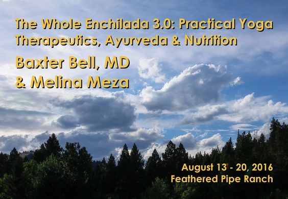 REGISTER HERE: http://bit.ly/1PblqBe  Feathered Pipe is delighted to once again host Baxter Bell and Melina Meza for a fun and nourishing week of Hatha yoga classes and creative ideas on how to create well-rounded practices for healthy living. We will explore the three key ingredients for you to look and feel your best: a sustainable yoga practice, a wholesome diet, and a healthy lifestyle.  #yoga #yogatherapy #ayurveda #nutrition #wellness #travel