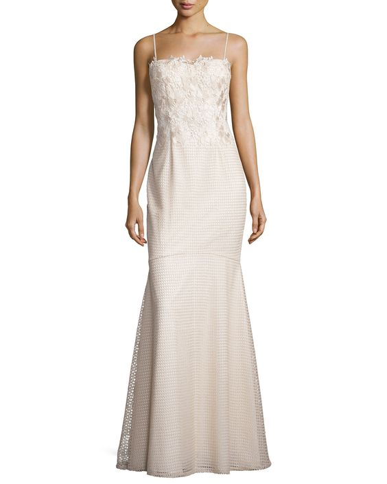Spaghetti Lace-Top Mermaid Gown, Beige/Ivory - Aidan Mattox