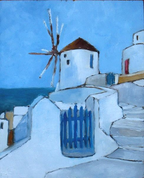 Clin D Oeil Au Moulin Renove De Santorin Grece Peinture