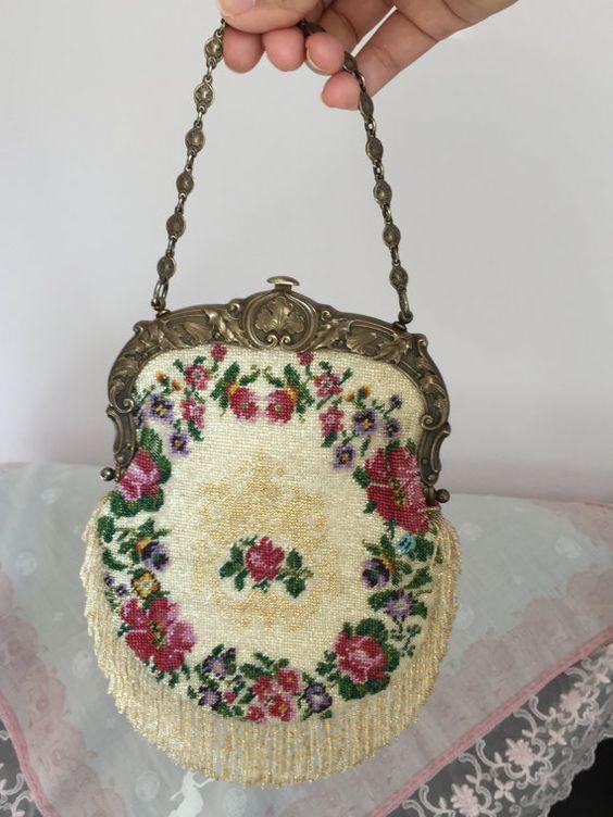 Zeldzame antieke (Gorham bedrijf jaar 1903) Micro kralen beurs bloemen met…