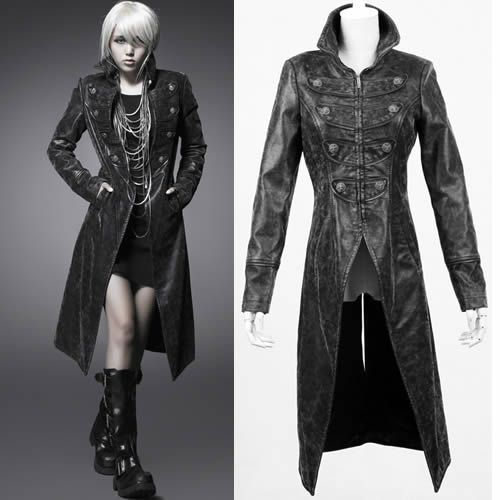 Long Black Leather Jacket - Coat Nj