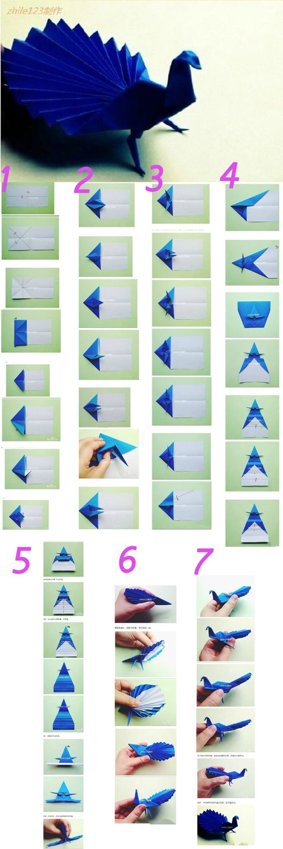 The origami tutorials to make Peacock.We can make one when are free or have low moon,it help us to improve our bad moon.