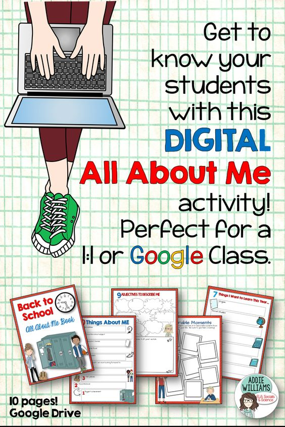 all about me middle school google drive classroom