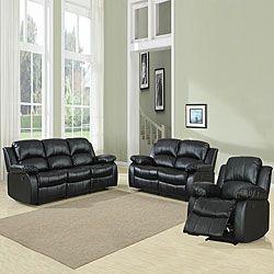 TRIBECCA HOME Coleford 3-piece Black Reclining Living Room Set | Overstock™ Shopping - Big Discounts on Tribecca Home Living Room Sets