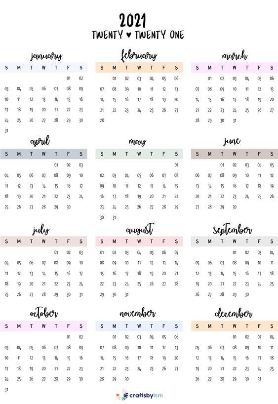 calendario minimalista