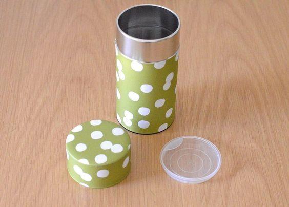画像1: 茶筒『抹茶白玉』(200g茶葉用)