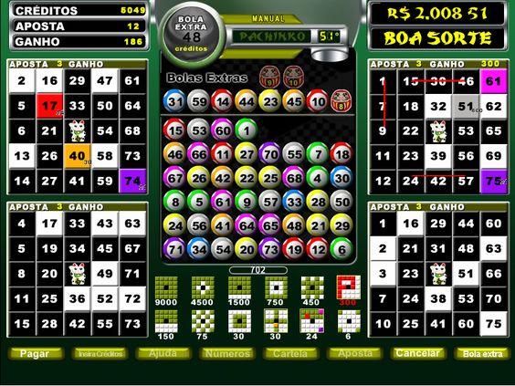 Pachinko 3    Uma emoção ao estilo japonês, que fez história no video-bingo. Bingo de 75 bolas, cartela de 5X5. Escreva o nome PACHINKO e ganhe 1000 X o valor de sua aposta.    https://pt.playbonds.com/bingo/Games/View.htm?gameID=136
