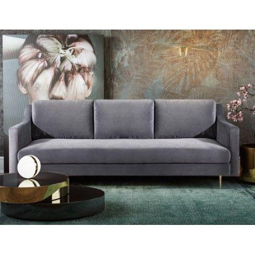Grey Velvet Mid Century Glam Sofa Gold Legs Glam Sofas Gold Sofa Velvet Furniture