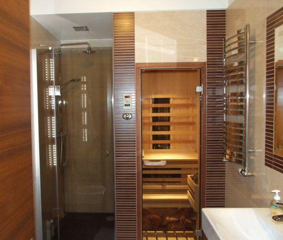 Small bathroom with sauna layout bathroom overhaul for Sauna bathroom ideas