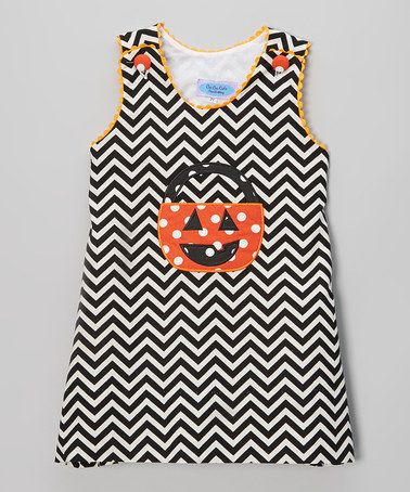 Look at this #zulilyfind! Black & White Zigzag Pumpkin Jumper Dress - Infant & Kids #zulilyfinds