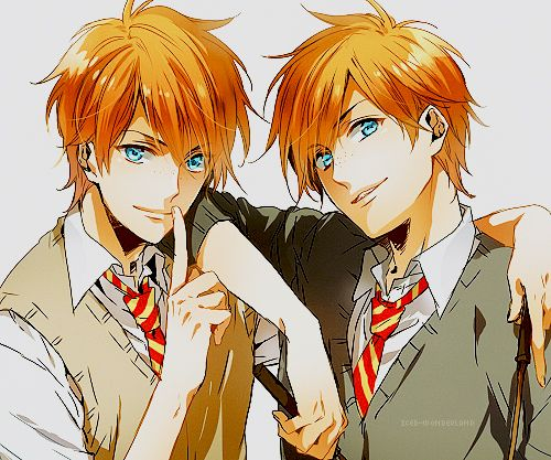 Fred And George Weasley Anime Twins Twin Tumblr On