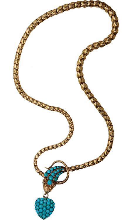 Olivia Collings Antique Jewelry Turquoise Serpent Necklace