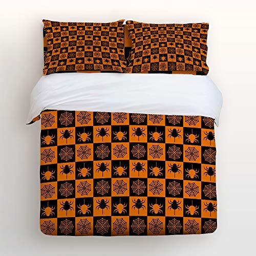 Duvet Cover Sets Black And Orange Halloween Spider And Webs Decorative Bedding Set Soft Bedspread Quilt Sheet S Kids Pillow Cases Bed Decor Stylish Home Decor