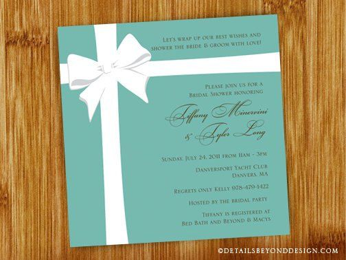 Tiffany Box Flat Bridal Shower Invitation  by DetailsBeyondDesign, $15.00