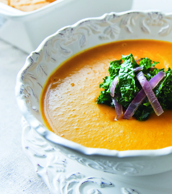 Squash Soup topped with Kale and red onion.