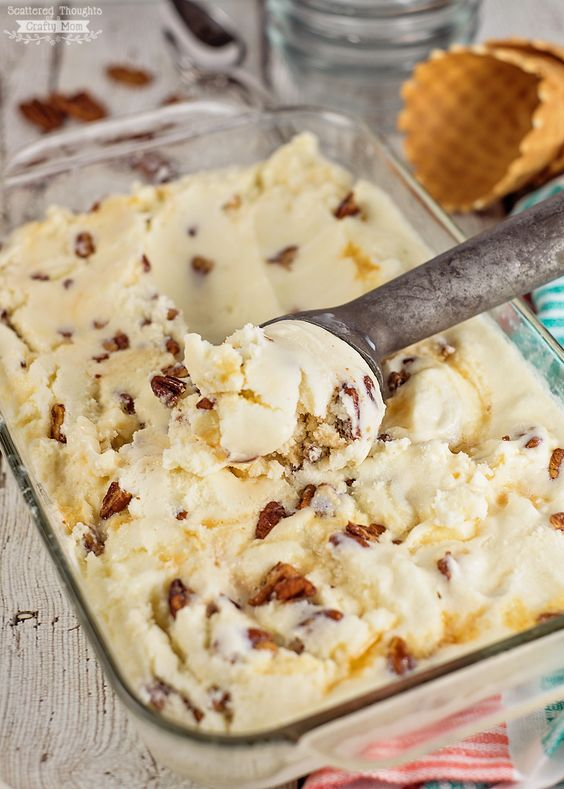 Buttered pecan ice cream recipe is simple and delicious. Top with caramel for an even more decadent ice cream. Check out SafeEggs.com for the recipe.