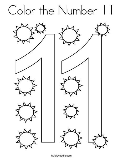 Color The Number 11 Coloring Page Twisty Noodle Coloring Pages Free Preschool Worksheets Math Activities Preschool
