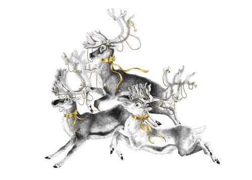 Fleeing Reindeer, pigment liner on paper 42 x 59.4 cm