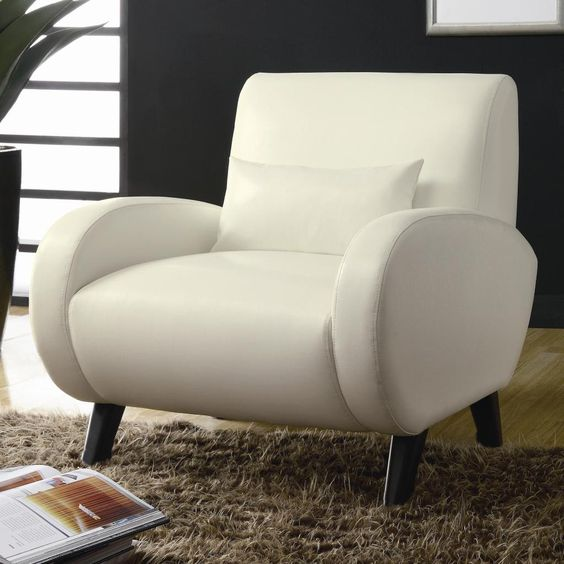 Cream White Bonded Leather Stationary Accent Arm Chair By