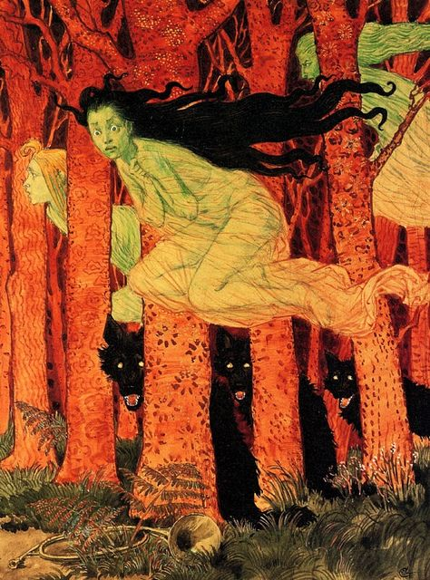 Eugene Grasset - Three Women and Three Wolves: