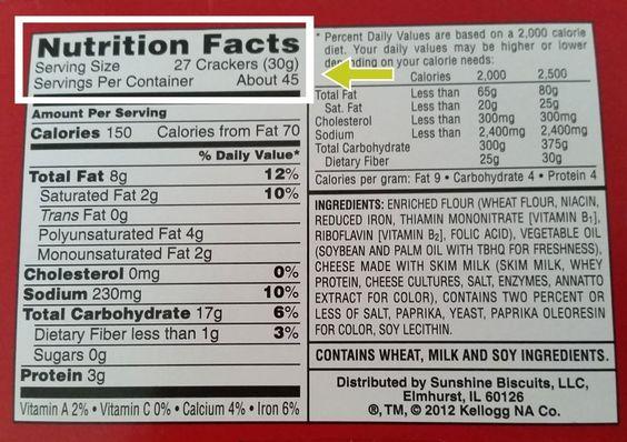 Nutrition Label Worksheet Answer Key Crackers - worksheet
