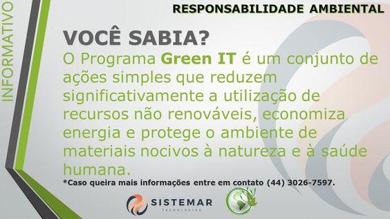 Sistemar Tecnologias Para o cadastro no programa Green IT da Furukawa entre em contato : www.sistemar.com.br/