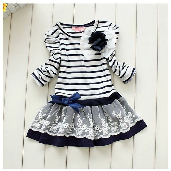 Gorgeous blue and white striped dress. Lace detailed skirt and pretty clip on bow. Sizes 3 - 8 years. £19 including UK delivery.  www.facebook.com/DiddyDarlings1