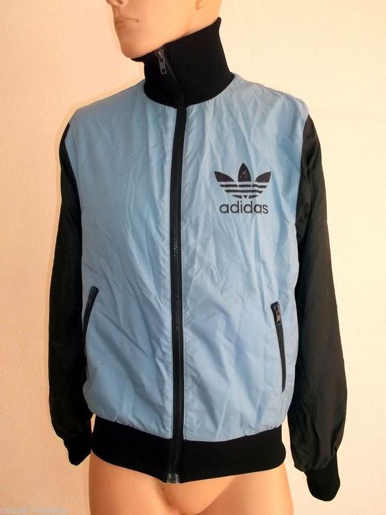 adidas vintage tracksuit top mens jacket uk m high collar. Black Bedroom Furniture Sets. Home Design Ideas